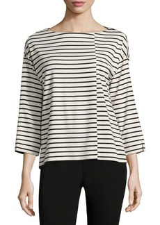 Lafayette 148 New York Punto Milano Striped Boatneck Top