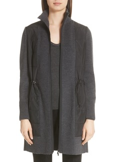 Lafayette 148 New York Quilted Panel Wool Sweater Coat
