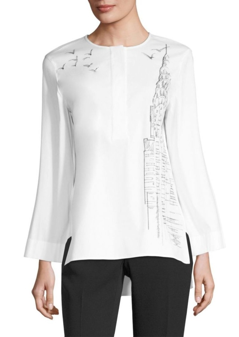 Lafayette 148 Quinn Scenic Embroidered Blouse