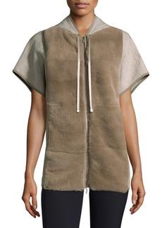 Lafayette 148 Rabbit Fur Short-Sleeve Hoodie
