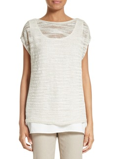 Lafayette 148 New York Relaxed Bateau Neck Sweater with Tank