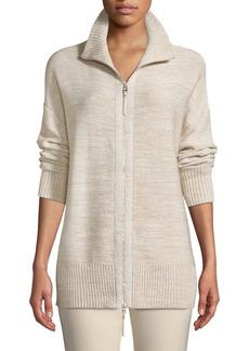Lafayette 148 New York Relaxed Sequin  Italian Wool/Silk-Blend Zip-Up Cardigan