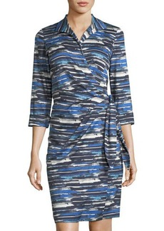 Lafayette 148 New York Reva 3/4-Sleeve Printed Wrap Dress