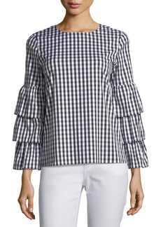 Lafayette 148 Revina Hampton Check Shirting Blouse