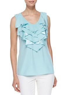 Lafayette 148 Rianne Ruffled Silk Top
