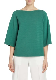 Lafayette 148 New York Rib Bell Sleeve Cotton Top