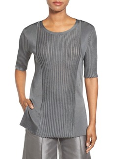 Lafayette 148 New York Rib Knit Elbow Sleeve Sweater