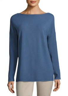 Lafayette 148 Rib-Knit V-Back Sweater