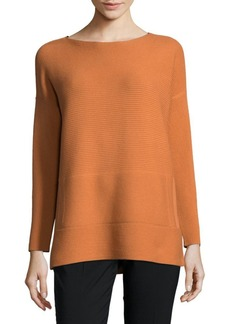 Lafayette 148 Ribbed Bateau Wool Sweater