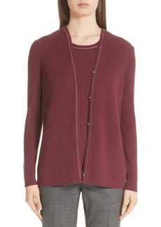 Lafayette 148 New York Ribbed Cashmere Cardigan (Nordstrom Exclusive)