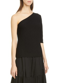 Lafayette 148 New York Ribbed Cotton & Silk One-Shoulder Sweater