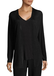Lafayette 148 New York Ribbed Open-Front Cardigan