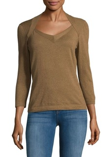 Lafayette 148 New York Ribbed Pullover Top
