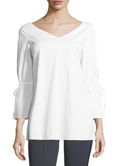 Lafayette 148 Riley Italian Stretch-Cotton Blouse