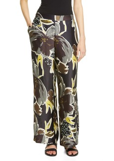 Lafayette 148 New York Riverside Floral Satin Wide Leg Pants