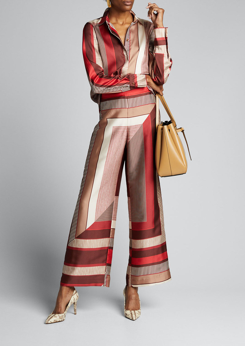 Lafayette 148 New York Riverside Prism Printed Twill Ankle Pants
