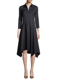 Lafayette 148 New York Rizzo Stretch Cotton Midi Shirt Dress