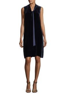 Lafayette 148 Ronan Sleeveless Tie-Neck Velvet Dress