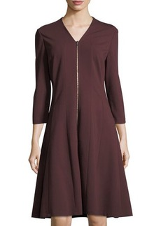 Lafayette 148 New York Rosalie Ponte Zip-Front Dress