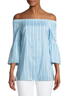 Lafayette 148 New York Rosario Off-The-Shoulder 3/4 Bell-Sleeve Blouse
