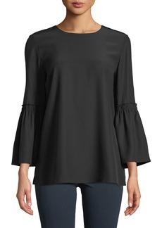 Lafayette 148 New York Roslin Bell-Sleeve Top in Matte Silk