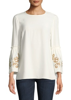Lafayette 148 New York Roslin Matte Silk Blouse w/ Embroidered Sleeves