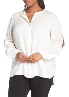 Lafayette 148 New York Rowan Double Silk Georgette Blouse (Plus Size)
