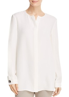Lafayette 148 New York Rowan Silk Slit-Sleeve Blouse