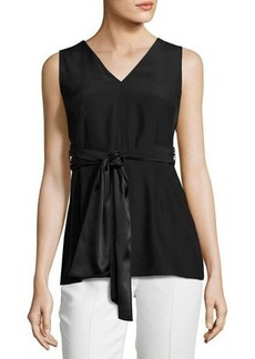 Lafayette 148 New York Roxanne Sleeveless Tie-Waist Silk Blouse