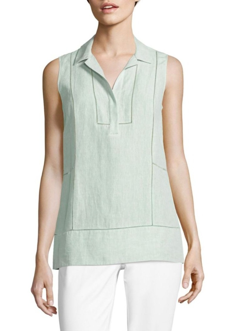 Lafayette 148 New York Roxie Embroidered Linen Blouse