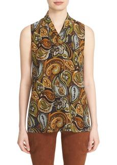Lafayette 148 New York 'Ruby' Sleeveless Print Silk Blouse
