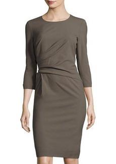 Lafayette 148 New York Ruched 3/4-Sleeve Sheath Dress