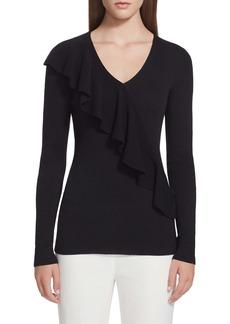 Lafayette 148 New York Ruffle Trim Merino Wool & Silk Sweater