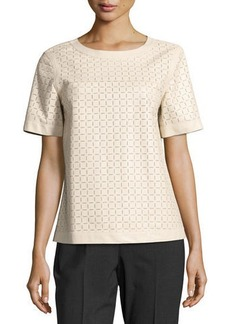 Lafayette 148 New York Rylan Zip-Back Laser-Cut Leather Blouse