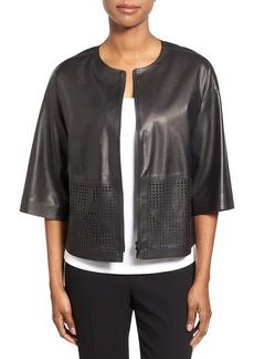 Lafayette 148 New York 'Sabina' Laser Cut Detail Lambskin Leather Jacket
