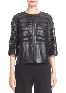 Lafayette 148 New York 'Sabina' Sheer Inset Multi Strip Leather Jacket