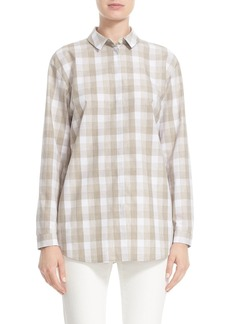 Lafayette 148 New York 'Sabira' Check Cotton Blouse