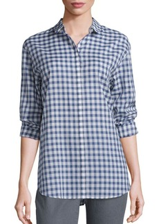 Lafayette 148 New York Sabira Harmonious Check Shirting Gingham Blouse