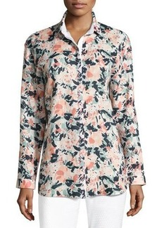 Lafayette 148 New York Sabira Long-Sleeve Floral-Print Linen Blouse