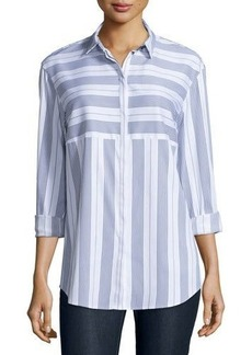 Lafayette 148 New York Sabira Long-Sleeve Striped Blouse