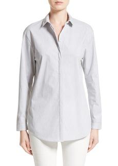 Lafayette 148 New York Sabira Melange Stripe Cotton Blend Blouse