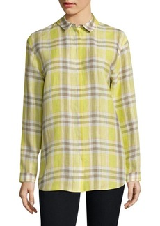 Lafayette 148 New York Sabira Plaid Linen Shirt