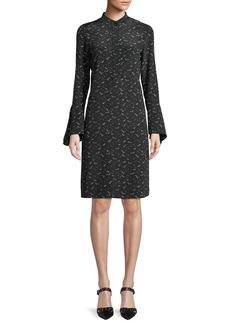 Lafayette 148 New York Salem Bell-Sleeve A-Line Bird-Print Silk Dress