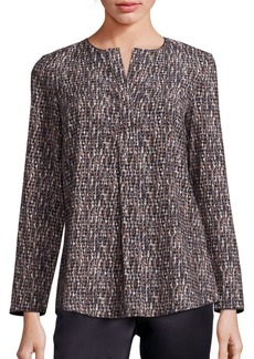 Lafayette 148 New York Samantha Printed Stretch-Silk Blouse