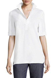 Lafayette 148 New York Sander Button-Front Blouse