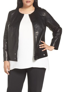 Lafayette 148 New York Santino Grommet Hem Leather Jacket (Plus Size)