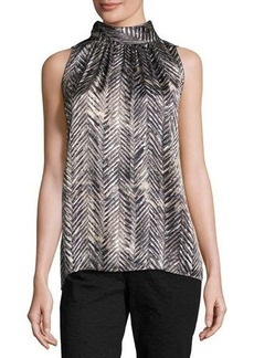 Lafayette 148 New York Sanura High-Neck Sleeveless Silk Top