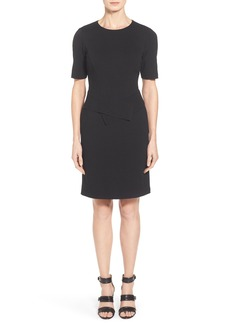 Lafayette 148 New York Sash Detail Punto Milano Short Sleeve Sheath Dress