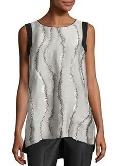 Lafayette 148 New York Sasha Graphic-Weave Blouse