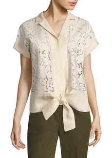 Lafayette 148 New York Sawyer Embroidered Linen Blouse